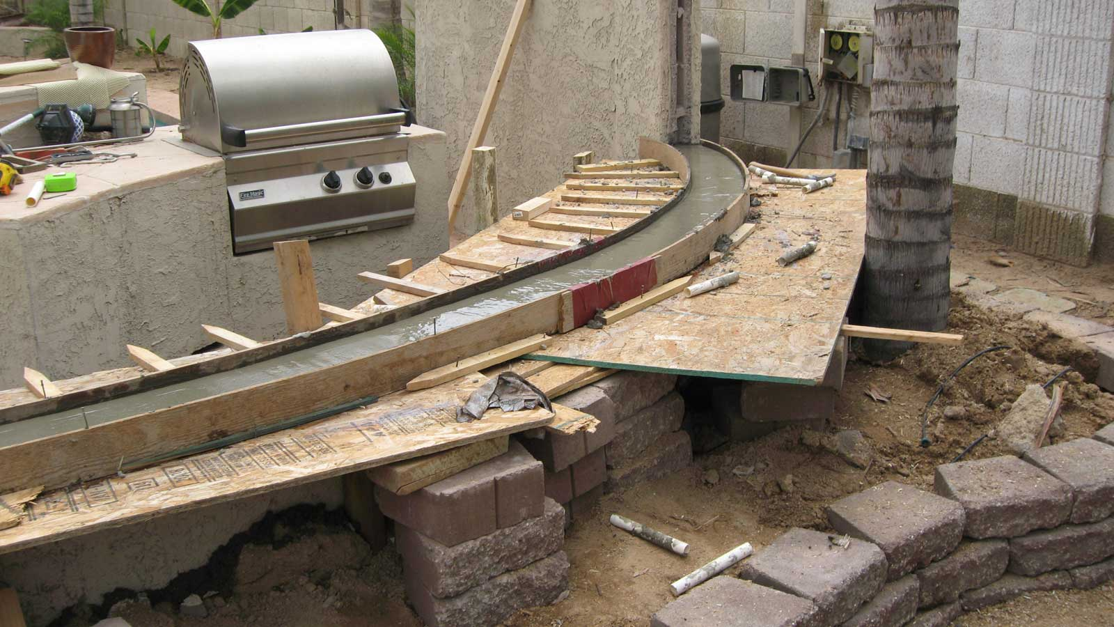 Chandler Curved Cement Patio Bench Chandler Curved Cement Patio Bench ...